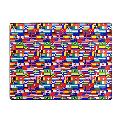 Doormat Flags Of The World Pattern Anti-Static Coral Wool Hall Mat