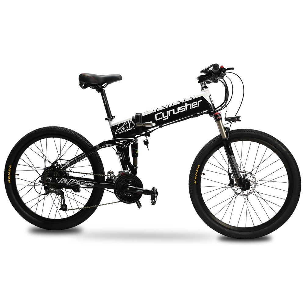 Cyrusher XF770 アシスト自転車 折り畳み フルサスペンション 26インチ 48V10ahリチウムバッテリー 専用充電器付け 27段速 マウンテンバイク デスクブレーキ 防犯登録可能 B07KK6KSSH 500W|WHITE WHITE 500W