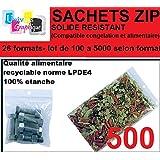 lot de 500 Sachets 80 x 120 mm fermeture zip Transparent. Sachet fermeture zip 8 x 12 cm 50u sac plastique zip 8x12 compatible alimentaire et congélation de marque UNIVERS GRAPHIQUE REF UGS05-500. Facture avec T.V.A déductible