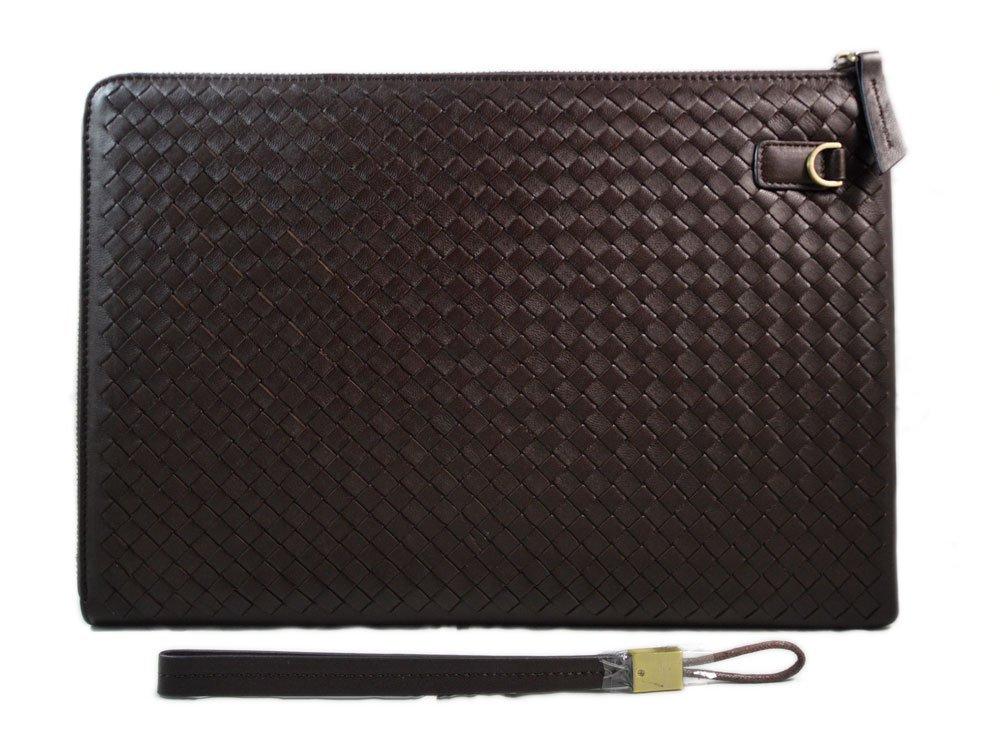 Leather carry all folder tablet folder document file folder braided weaved leather zipped folder bag brown made in Italy office folder