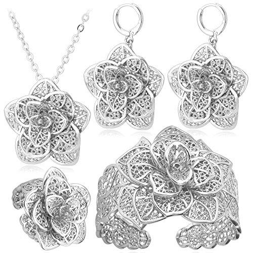 Women Big Wedding Jewelry Set Platinum Plated Vintage Bracelet Ring Flower Necklace Earrings Set (Platinum Set Wedding Jewelry)