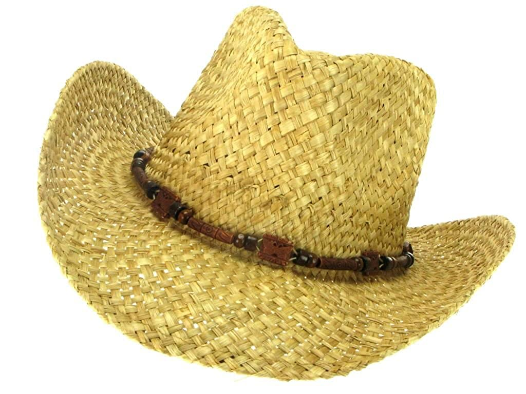 Hawkins Hats STRAW COWBOY HAT WITH WOODEN BEADED DECORATIVE BAND