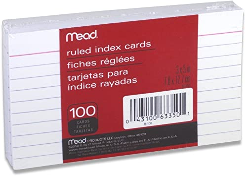 "3/"" x 5/"" Ruled Index Cards 100 Count Mead 10 Pack"