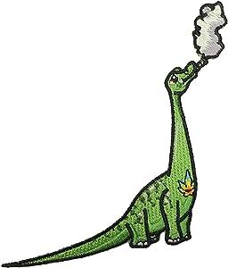 Pot Smoking Pals Smoking Brontosaurus Dinosaur - Iron on Embroidered Patch Applique