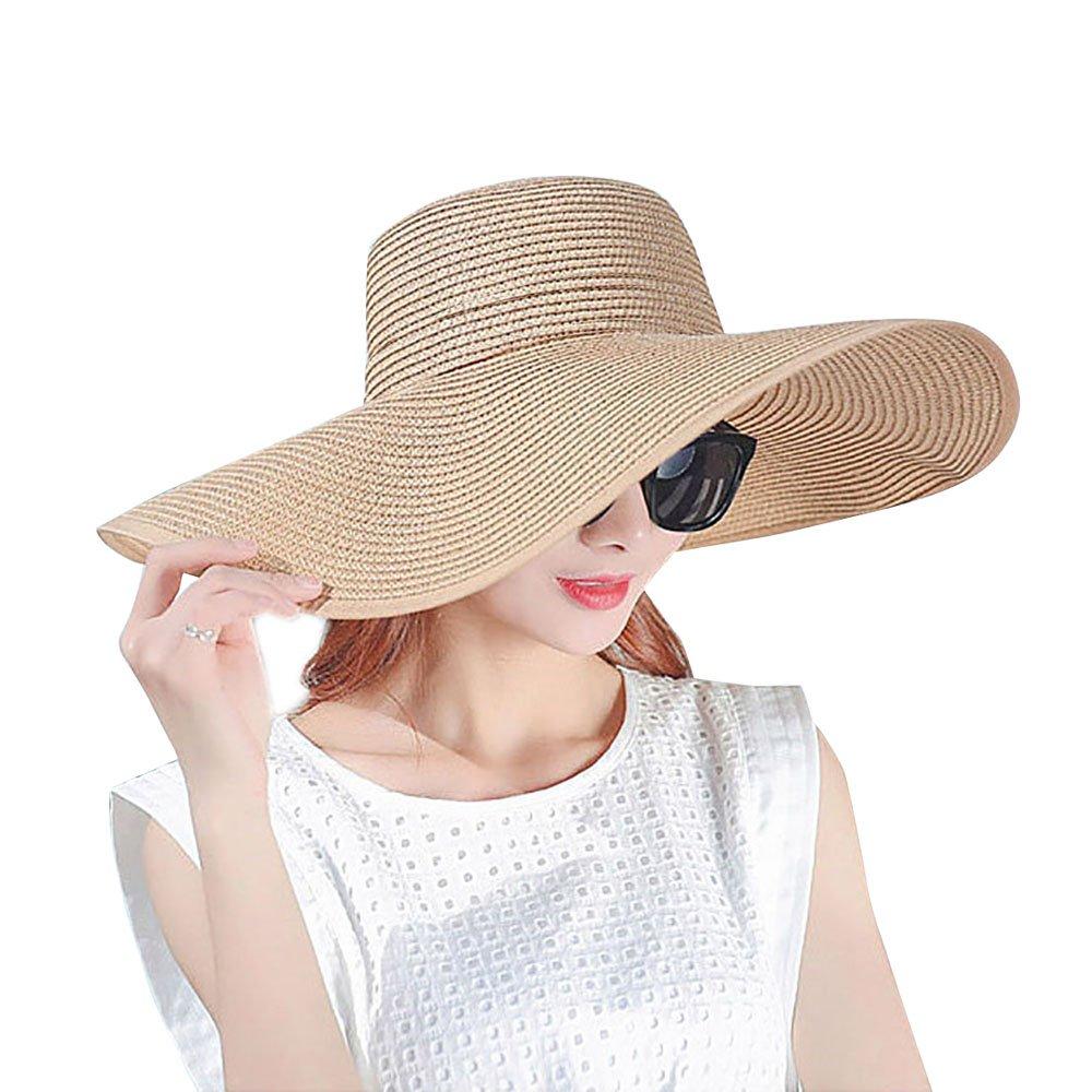 NANOOER Women Foldable Floppy Wide Large Brim Sun Hats Derby Cap Beach  Straw Hat 81dcdb81ee31