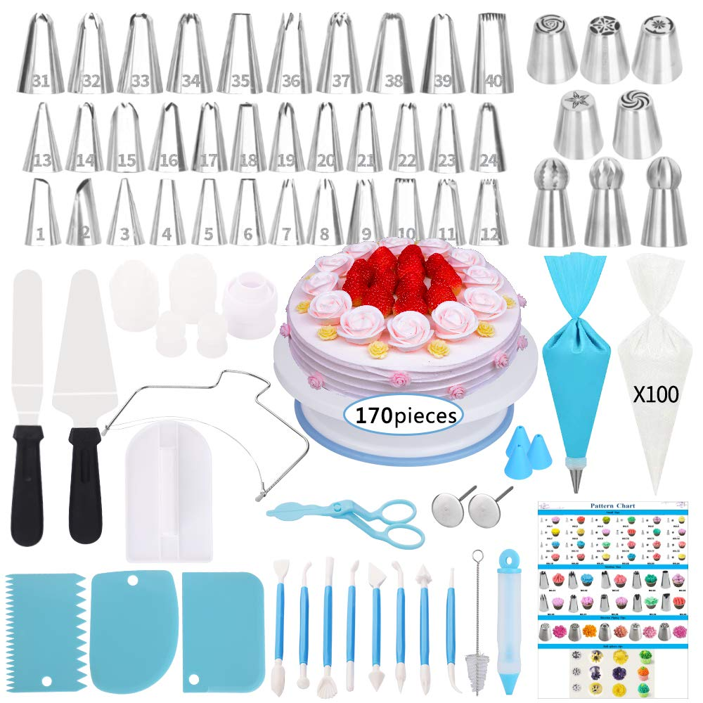 Cake Decorating Supplies Kit,170 PCS Baking Supplies Set with Icing Piping Tips & Russian Nozzles with Pattern Chart, Rotating Turntable Stand, Frosting, Piping Bags, Icing Spatula and Pastry Tools by SIK