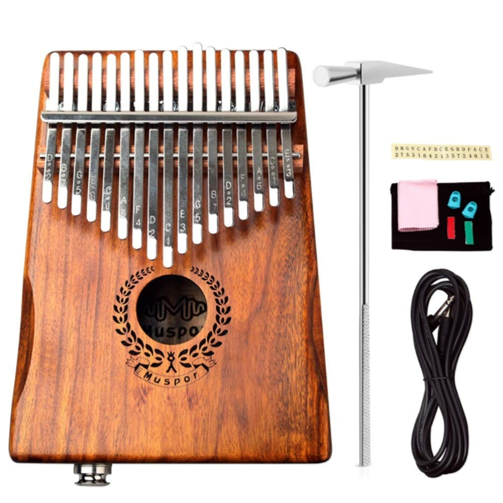 Professional Finger Thumb Piano Natural Acacia Wood 17 Keys EQ Kalimba With Jack Song Book Tuning Hammer Pickup Carry Bag Thumb Piano Finger Piano Metal Engraved Notation Tines Kids Musical Instrument