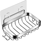 Homemaxs Soap Dish, 2021 Soap Dish for Shower with Hook, 304 Stainless Steel Wall Mounted Bar Soap Holder for Bathroom Kitche