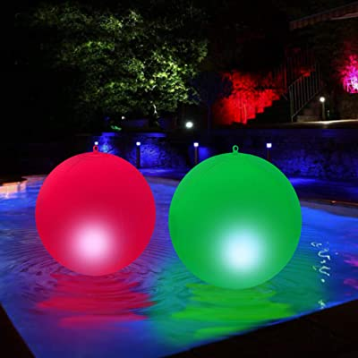 Floating Pool Lights Solar-15 Inches-Solar Powered- Pool Lights to Turn your pool Into a Wonderland - Beautiful Bright Colors, Easily Inflated, Color-Cycle - Waterproof-Led Pool Lights (Pack of 2) : Garden & Outdoor