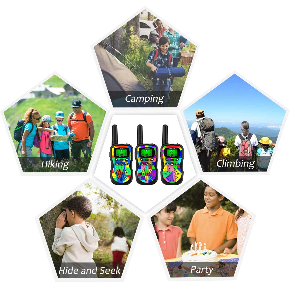 Ohime Kids Walkie Talkies,Cover 3 Miles Range with Backlit LCD Flashlight 22 Channels 2 Way Radio Toy Outdoor Adventures, Camping, Hiking,Party (3Pack NewColour) by Ohime (Image #5)