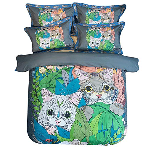 MeMoreCool Cartoon Cat Girls Twin Full Queen Bedding Sets for Kids Toddler Cotton Reversible 4 Pieces Animal Design Bedding Duvet Cover with Pillowcases Child Bedding Set