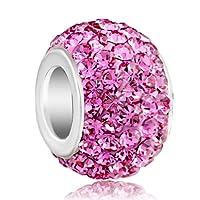 Charmed Craft Jan-Dec Birthstone Charms Swarovski Elements Crystal Bead Fit Chamilia Charm Bracelet