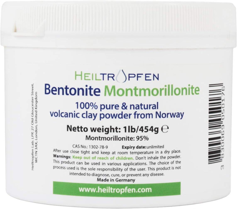Bentonita Montmorillonita en polvo 1 lb - 454 g | ULTRA FINA | contenido de montmorillonita 95% | polvo mineral natural | Heiltropfen®