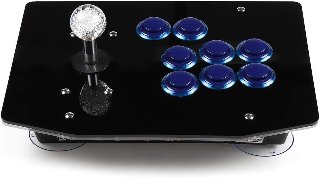 C-FUNN Arcade Stick Pc Juego Joystick USB Fightstick Light 6 Botones Controlador - Azul