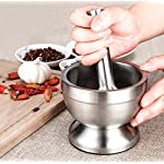 Bekith Brushed Stainless Steel Mortar and Pestle/Spice Grinder/Molcajete 12 Double 304 stainless steel construction, heavy and durable Functional Design with Non-Skid Base, Heavy-Duty Pestle Press Patent Pending & Copyright Protected