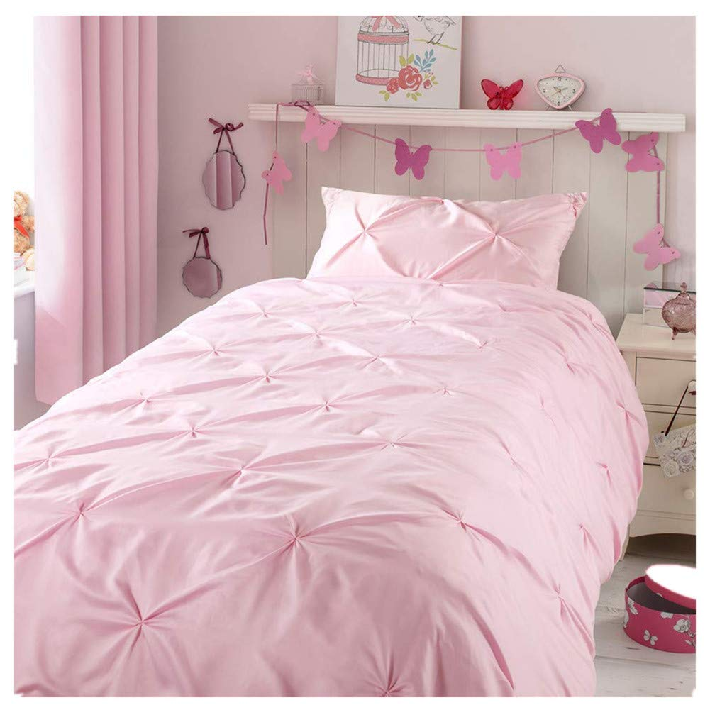 Horimote Home Kids Duvet Cover Twin, Blush Pink Duvet Cover Set for Baby Teen Girls Bedroom, Cute Ruched Pinch Pleated Pintuck Style Duvet Cover, 69
