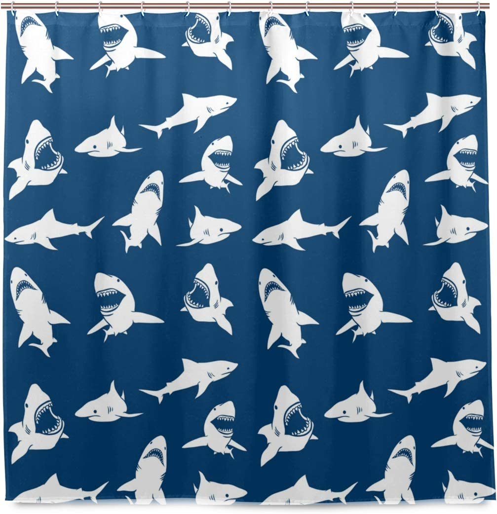 Shark Shower Curtain with Various Gestures Have A Bite Danger Humor Nautical Pattern Design Polyester Cloth Waterproof Shower Curtains Set for Bathroom Decor Fabric with 12 Hooks 72x72 Inches