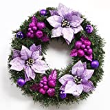 Christmas Garland for Stairs fireplaces Christmas Garland Decoration Xmas Festive Wreath Garland with Christmas wreath Christmas,60CM purple