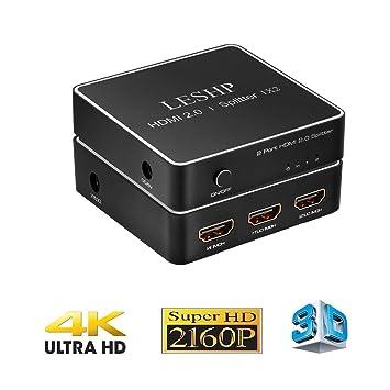4K HDMI Splitter, Distribuidor / Divisor de HDMI LESHP HDMI Splitter 1x2 Puerto Conmutador, Ultra HD Para HDTV PC PS3 PS4 Xbox Blu-Ray Proyector HD