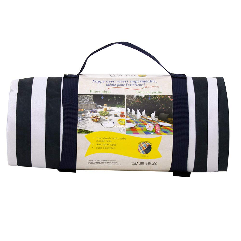/à Revers Etanche Grande Nappe Pique-Nique et Jardin XL Marine 280x140cm Grandes Rayures Bleues et Blanches Les Jardins de la Comtesse