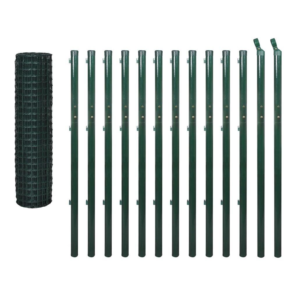 Festnight Euro Garden PVC Fence Animal Steel Wire Net Border Green Length  25 m Height  1.7 m