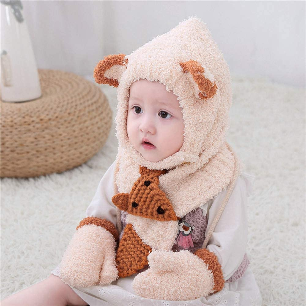 Toddler Kids Boy/&Girl Baby Infant Winter Crochet Knit Hat Beanie Cap Scarf Set