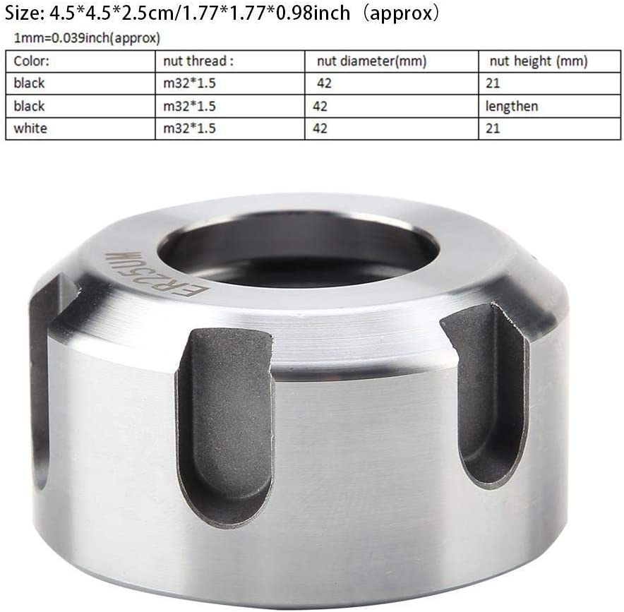 White M321.5 Beennex 1pcs ER25UM?Dynamic Balancing Nut Metal Collet Nut Chuck Holder Lathe