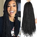 6 Packs/Lot 24 Strands/Pack Thin Box Braids Crochet Hair 18 Inch 1cm in Diameter 3X Synthetic Braiding Hair Extensions Crochet Braids Hair (1B#)