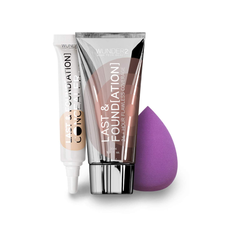 WUNDER2 LAST & FOUNDATION Makeup Bundle (Sand) 24+ Hour With Full Coverage Eye Cream Concealer (Medium) and Wunderblend Professional Beauty Makeup Blender