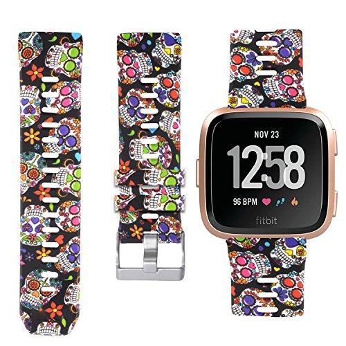 Allbingo Fitbit Versa Cute Bands,Women Men Replacement Strap Wristband for Fitbit Versa Smart Watch (Skeleton Flowers, Large)