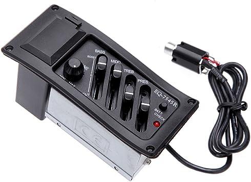 Andoer® 4-Band EQ Ecualizador Piezo Pickup EQ-7545R Pre-Amp ...