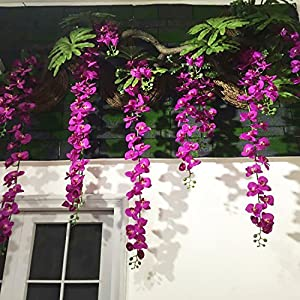 Felice Arts Artificial Flowers 6.6ft 32 Heads Butterfly Orchid Home Decor Fake Flower for Wedding Home Office Party Hotel Restaurant 8