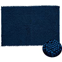 HEBE Non-Slip Chenille Bathroom Rugs Mat Extra Soft Chenille Bath Rug Floor Mat for Bathroom Machine Washable (24 x 35, Blue)