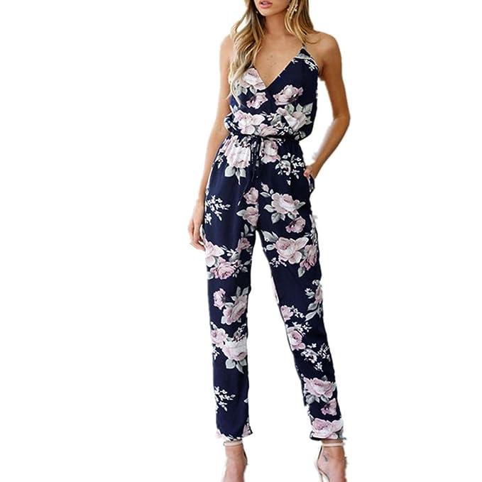 Sommer Rückenfrei Jumpsuit ❤️Amlaiworld damen V-Ausschnitt Bodysuit Reizend  bunt blumen drucken Overall elegant 6a5dff57c5