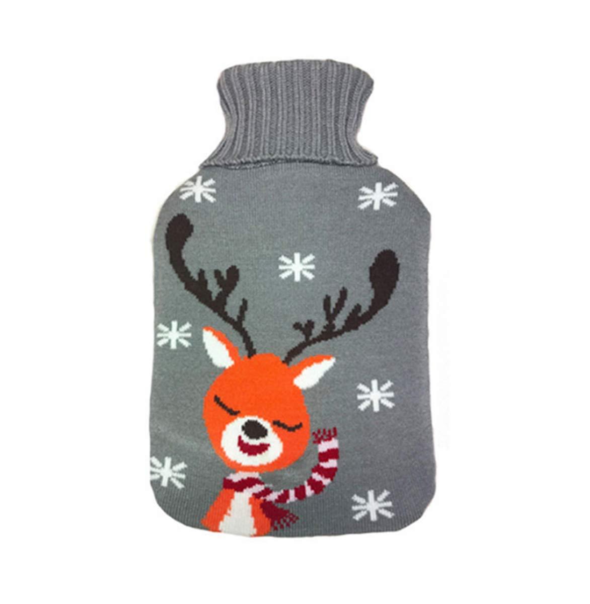 GJ Fashion Bouteille d'eau Chaude d'hiver de Noël d'hiver Santa Elk a tricoté la Bouteille d'eau Chaude de sécurité antidéflagrante