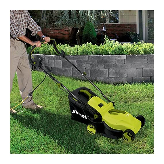 Sun Joe MJ400E 12-Amp 13-Inch Electric Lawn Mower w/ Grass Collection Bag 6 Powerful: 12-amp motor cuts a crisp 13.4 in. Wide path Adjustable deck: customize your cut with 3-position adjustable Height control: 0.98 in., 1.77 in., 2.56 in Lightweight: compact design is ideal for maneuvering around small lawns