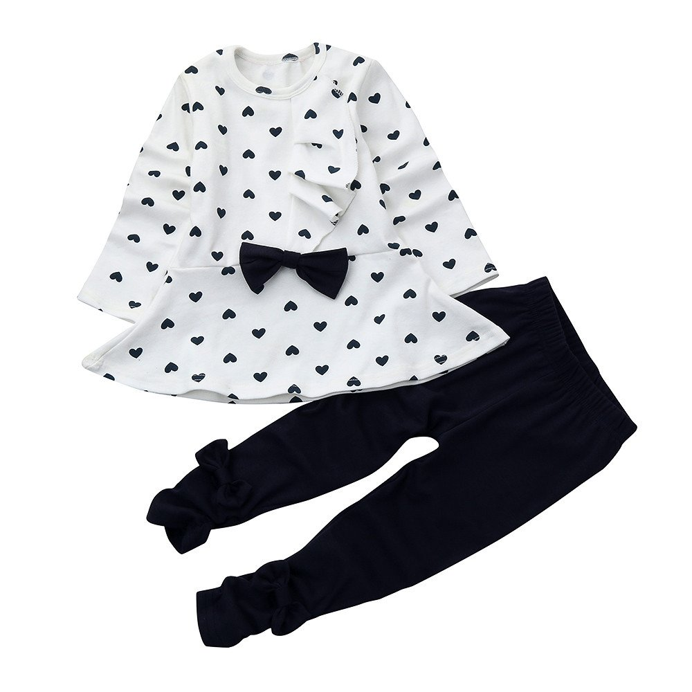 Baby Clothes Boy, Baby Sets Heart-Shaped Print Bow Cute 2PCS Kids Set T Shirt + Pants,Baby Boys' Novelty Hoodies,White,12M