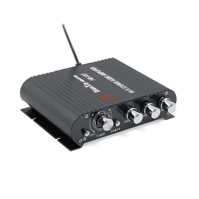 Amazon.com: eDealMax Universal Negro coche de la motocicleta Mini Hi-Fi amplificador Audio estéreo de 200W DC 12V: Car Electronics