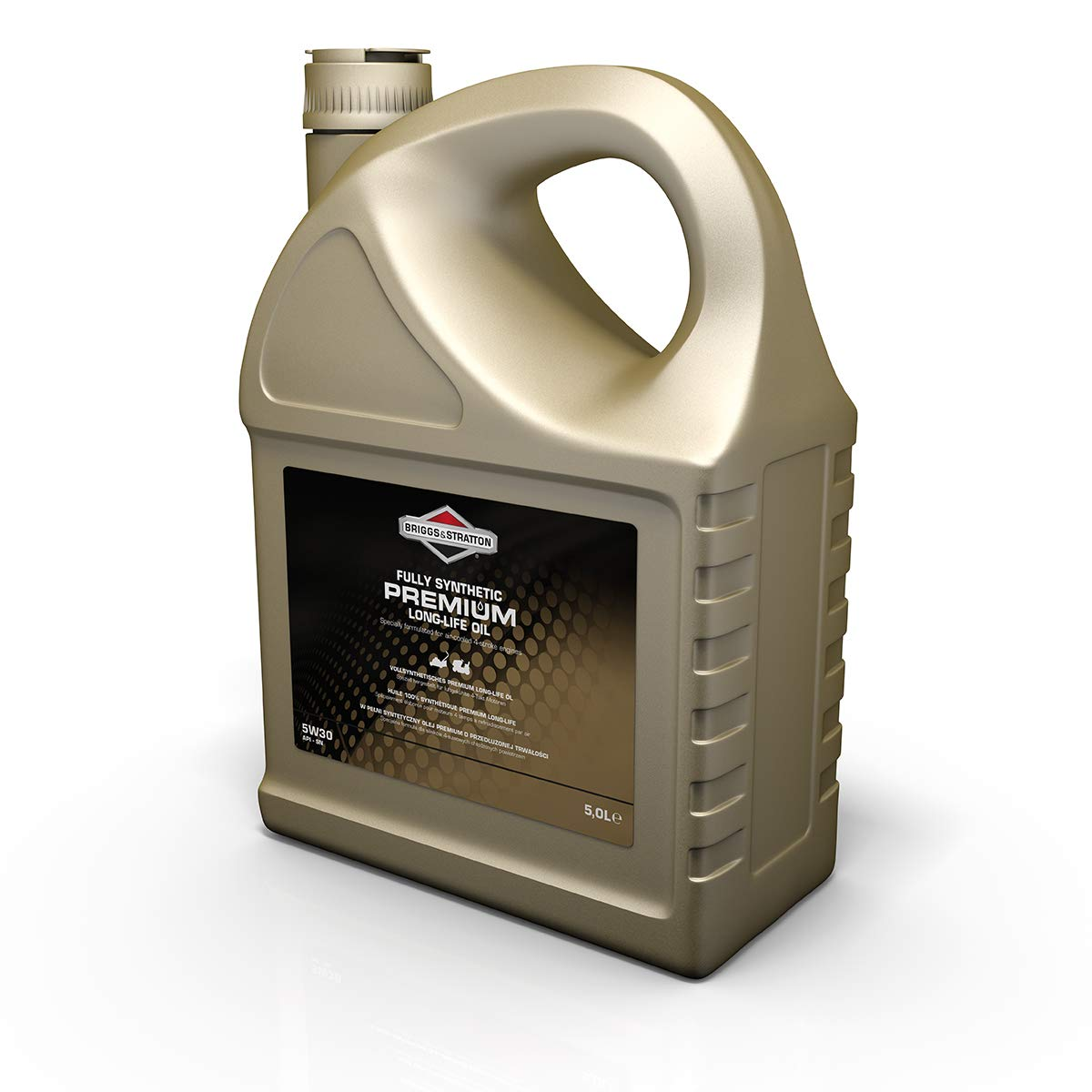 Briggs & Stratton 100009S 4-Stroke 5W30 Long-Life Synthetic Engine Oil, 5.0 Litre, negro, 5,0 Litro Premium