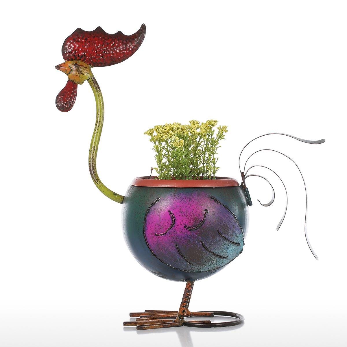 Tooarts Rooster Garden Pots Metal Animal Planter Home Decoration Irregular Flower Pots Multicolor