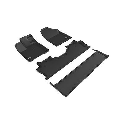 3D MAXpider Complete Set Custom Fit All-Weather Floor Mat for Select honda Ridgeline Models - Kagu Rubber (Black): Automotive