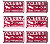 6 Pcs Fiduciary Modern Security Sticker Signs Doors Adhesive 24 Hour Alarm Video Warning Size 3.5
