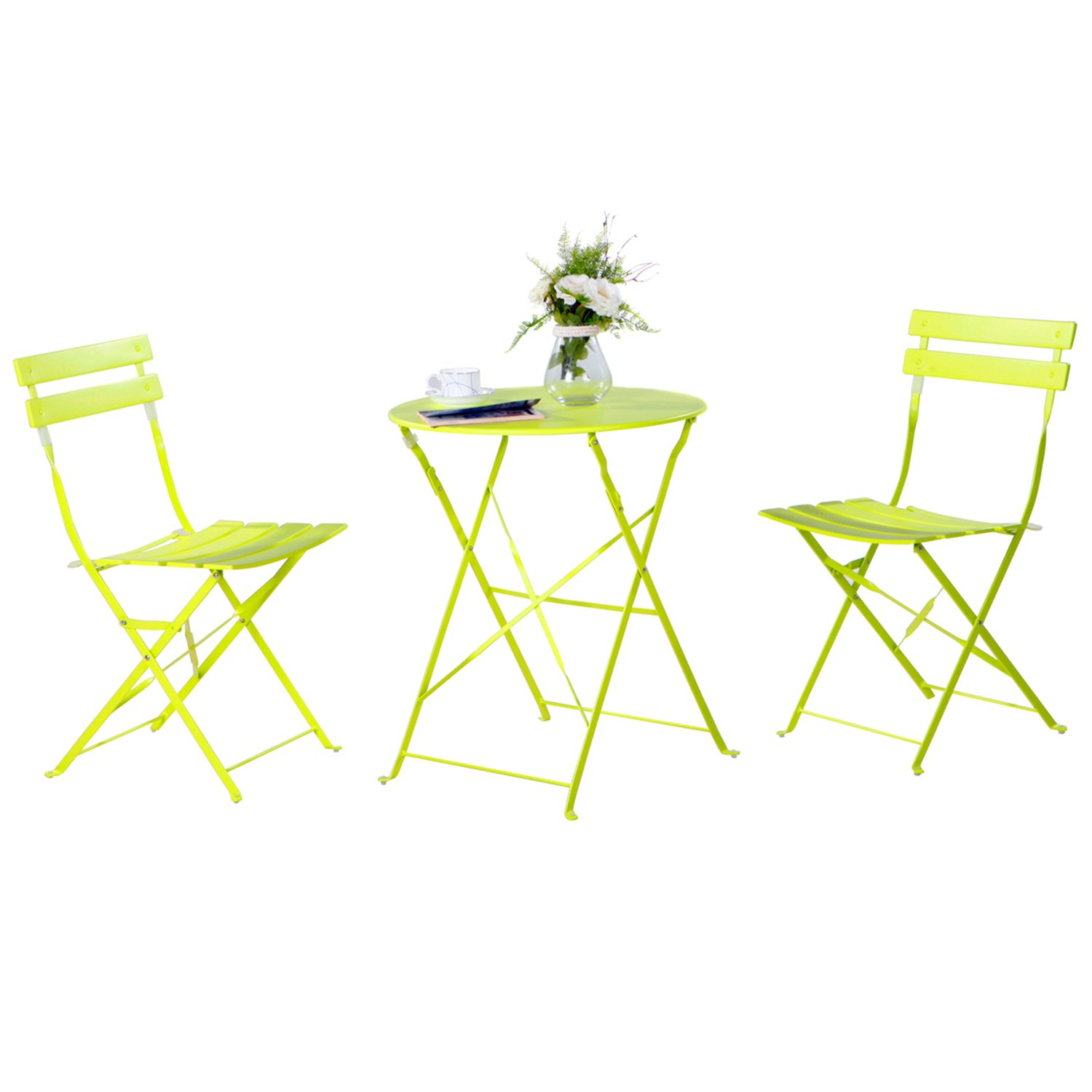 Grand patio 3-Pack Sling Glider Folding Steel 2 Chairs Round Table Indoor Corner Sets,Vivid Green