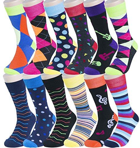 Groovy Socks Men's 12 Pack Patterned Dress Socks