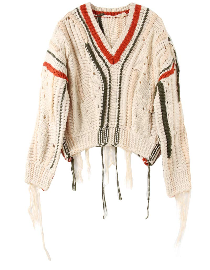 JIAKENVDE Wind Sweater Female Loose Retro Short Hollow Tassel Hit Farbe V-Neck Sweater Thick Needle