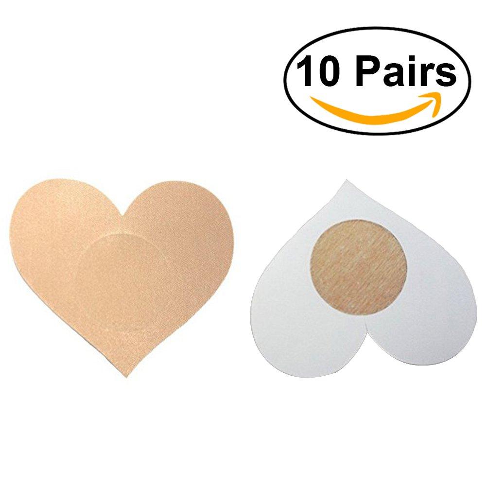 Tinksky Desechables Pasties Nipple Cover Lencería en el sujetador en forma de corazón Boob pegatina cubierta de mama para las mujeres 10 pares (piel-color): ...