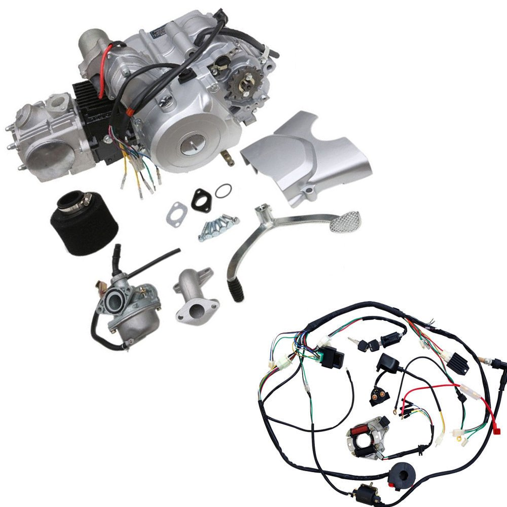 Wphmoto 125cc 4 Stroke Semi Auto Single Cylinder Air Lifan Motor Wire Harness Cooled Electric Start Engine With Wiring Kit For Atv Quad Go Kart Motorcycle