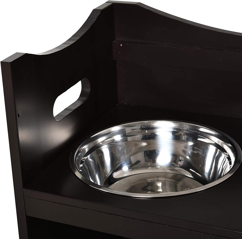 Pawhut Adjustable Elevated Raised Pet Bowl Feeder 2 Stainless Steel Dog Cat Bowls MDF Frame Handles Brown