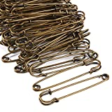 100-Count Safety Pins - 4-Inch Oversized Safety Pins, Antique Safety Pins for Laundry Bags, Garment Repair, Quilting, Jeans, Skirts, Copper Plated Bronze, 4 x 1 x 0.2 Inches