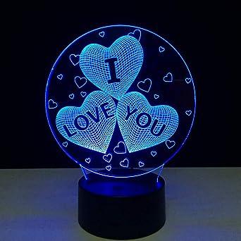 Xiujie Ich Liebe Dich Bunte 3d Hologramm Lampe Usb Acryl Lichter 3d Led Lampe Nachtlicht Fur Weihnachten Hochzeitsfeier Liebhaber Geschenk Amazon De Beleuchtung